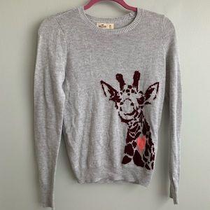 light hollister giraffe pullover sweater